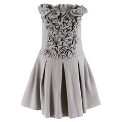 Emporio Armani Wool Grey Floral Embellished Strapless Dress SIZE 46