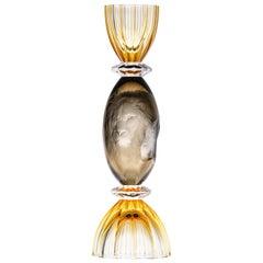 Emporium Crystal Glass Vase Hand Engraved Lions 24-Karat Gold