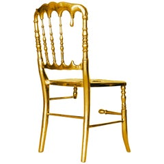 Emporium Dining Chair with Three in Gold Painted Aluminum