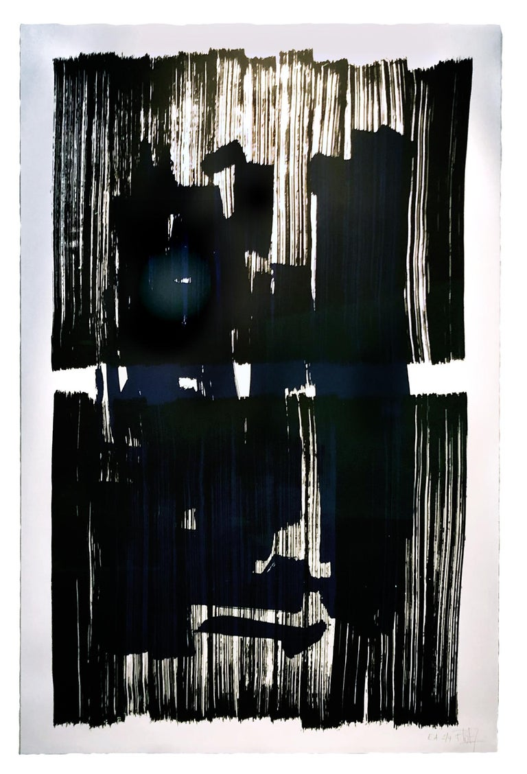 The composition creates oppositions of blue, black and white.  The price is unframed  Silk Print in a signed limited edition, numbered serie from 1 to 12.