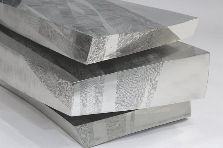Contemporary 'Empreintes' Nickel Silver Coffee Table by Armand Jonckers For Sale