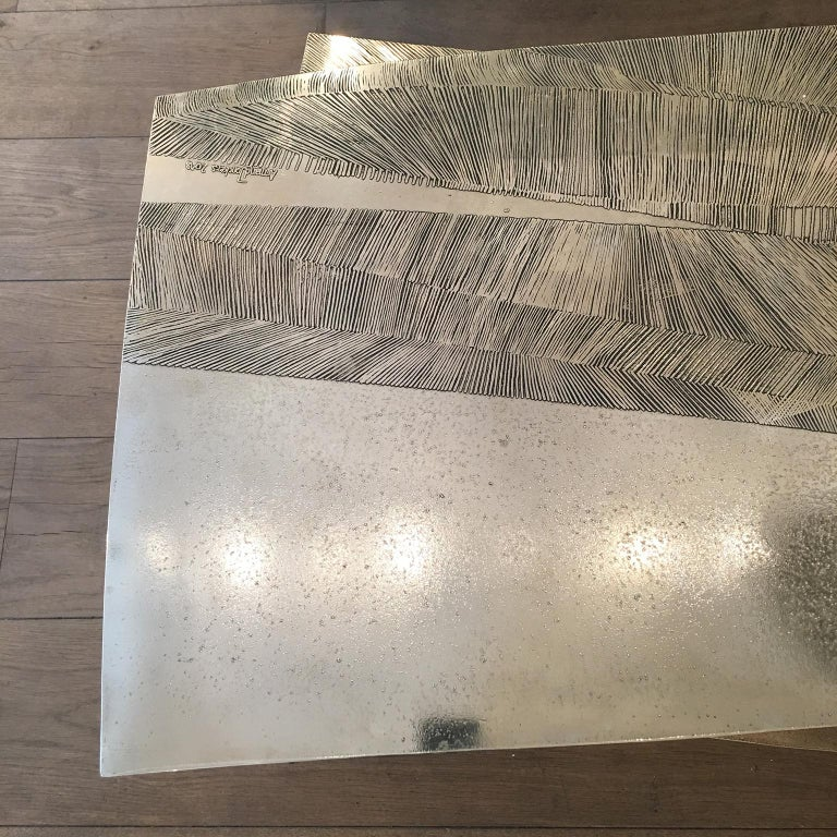 'Empreintes' Nickel Silver Coffee Table by Armand Jonckers For Sale 2