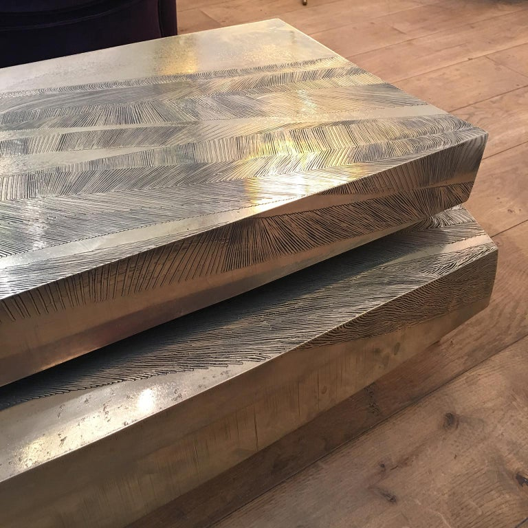 'Empreintes' Nickel Silver Coffee Table by Armand Jonckers For Sale 5