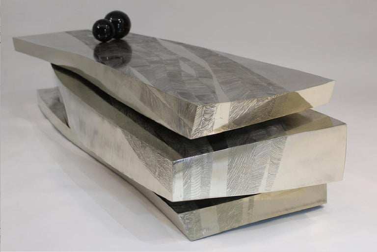 'Empreintes' acid-etched nickel silver coffee table by Armand Jonckers.