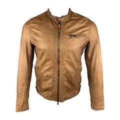 EMPRESA 38 Tan Distressed Leather Zip Up Jacket
