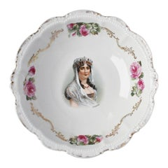French Empress Joséphine Bonaparte Porcelain Floral Pink Serving Bowl