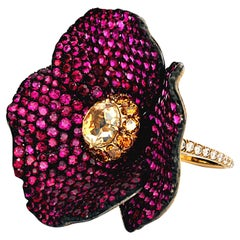 "En-Tremblant ""Poppy Flower"" Ring with Rubies and Diamonds by Leon Mege"