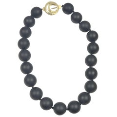Ena Large Onyx Bead Yellow Gold and Diamonds Necklace