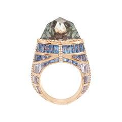 Enairo 18k Gold Blue Sapphire Tourmaline Diamond Cocktail Ring