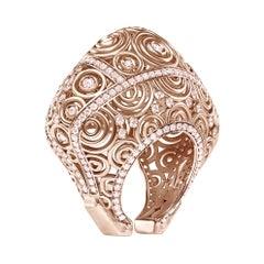 Enairo 18k Rose Gold Pink Sapphire Cocktail Ring