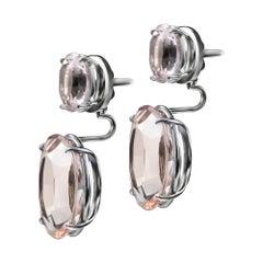 Enairo 18k White Gold Rhodium Morganite Drop Earrings