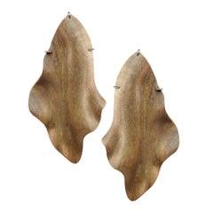 Enairo Beige Natural Wood Drop Earrings