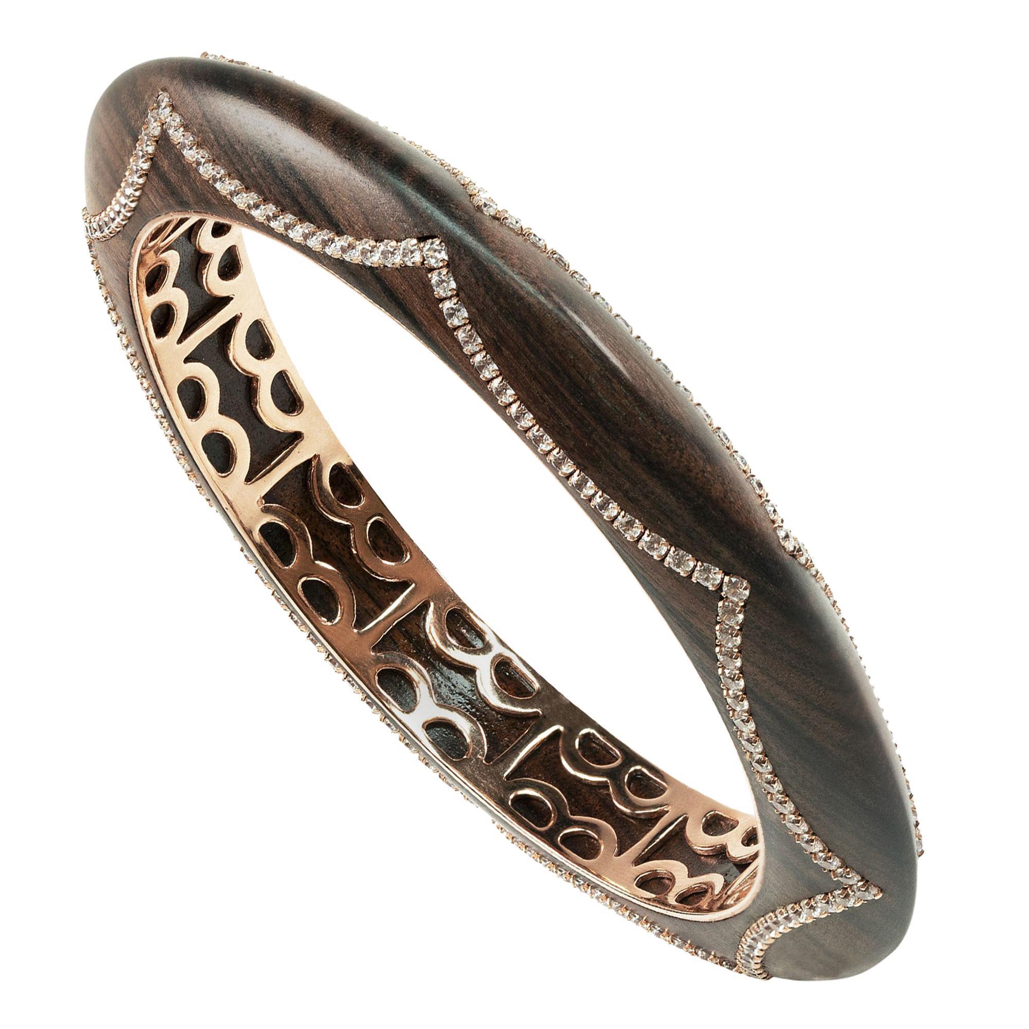 Enairo Rosewood 18k Gold Diamond Bracelet Bangle