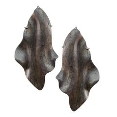 Enairo Dark Natural Wood Drop Earrings