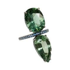 Enairo Double Green Apatite Stone Cocktail Ring