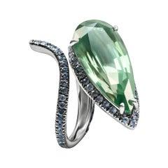 Enairo Green Apatite Blue Sapphire Snake Cocktail Ring