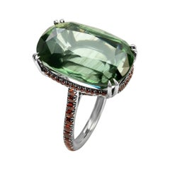 Enairo Green Apatite Orange Sapphire Cocktail Ring