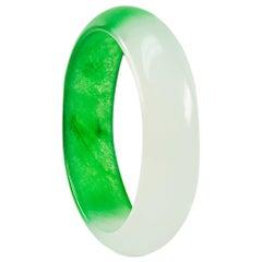 Enairo White and Dark Green Jade Bangle