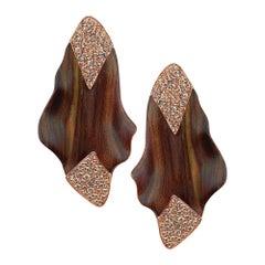 Enairo Wood 18k Rose Gold Champagne Diamond Drop Earrings