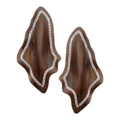 Enairo Wood 18k Rose Gold Diamond Drop Earrings
