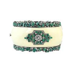 13.45 Carat Emerald Diamond Enamel Bracelet Cuff
