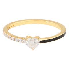 Enamel 14 Karat Gold Diamond Heart Ring