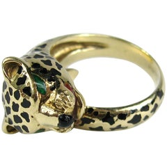 Enamel 14 Karat Gold Leopard Head Wrap Ring