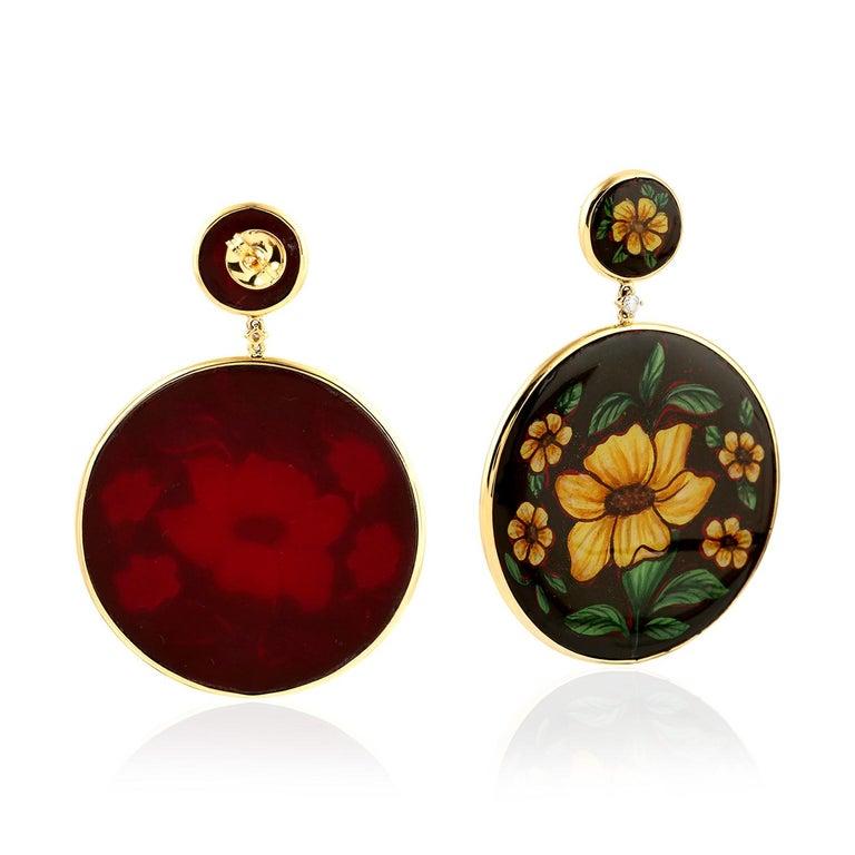 Artisan Enamel Hand Painted Diamond Yellow Flower 18 Karat Gold Earrings For Sale