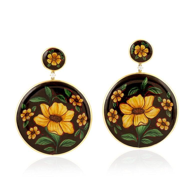 Round Cut Enamel Hand Painted Diamond Yellow Flower 18 Karat Gold Earrings For Sale