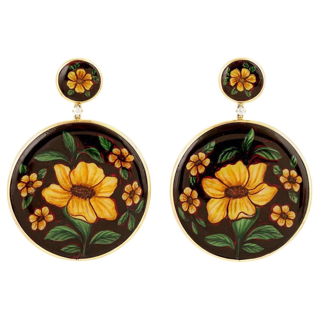 Enamel Hand Painted Diamond Yellow Flower 18 Karat Gold Earrings