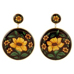 Enamel 18 Karat Gold Hand Painted Yellow Flower Diamond Earrings