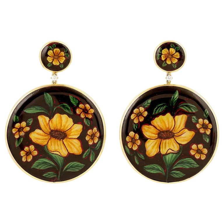 Enamel Hand Painted Diamond Yellow Flower 18 Karat Gold Earrings For Sale