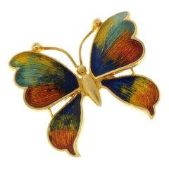 Enamel 18 Karat Yellow Gold Butterfly Vintage Brooch Handcrafted in Italy