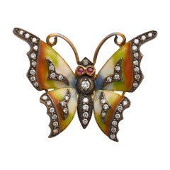 Enamel & 18k Gold Butterfly Pin