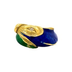 Enamel 18k Yellow Gold & Diamond Fish Ring