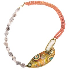 Enamel 24, 22 18 Karat Yellow Gold Biwa Pearl Carnelian Herkimer Beads Necklace