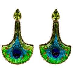 Enamel 24 and 22 Karat Yellow Gold Peridot Earrings