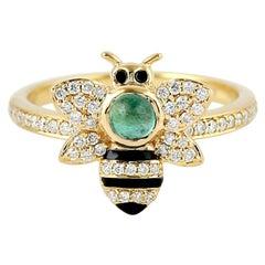 Enamel .35 Carat Emerald Diamond 18 Karat Gold Bumble Bee Ring