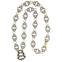 Enamel 3.78 Carat Diamond 18 Karat Gold Link Necklace