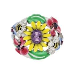 "Enamel Amethyst Diamond Ruby Sapphire Gold ""Bee Garden"" Cocktail Ring"