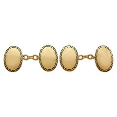 Enamel and 15 Karat Yellow Gold Cufflinks, Antique, circa 1900