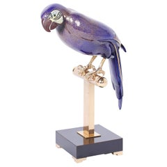 Enamel and Brass Parrot on a Stand
