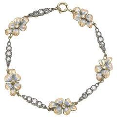 Enamel and Diamond Flower Bracelet
