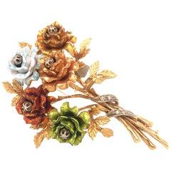 Enamel and Diamond Flower Brooch 18 Karat Yellow Gold