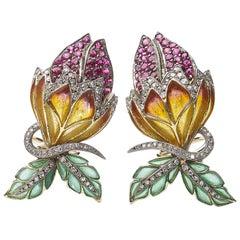Enamel and Diamond Flower Bud Earrings
