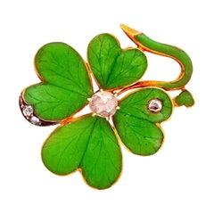 Enamel and Diamond Four Leaf Clover Gold Shamrock Brooch Pin Estate Fine Jewelry