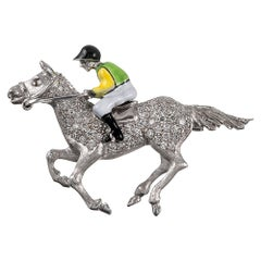 Enamel and Diamond Jockey Lapel Pin
