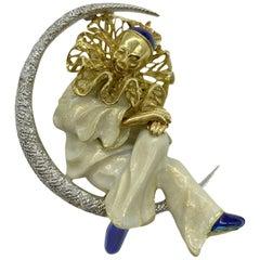 Enamel and Diamond Pierrot Lunaire Moon Brooch