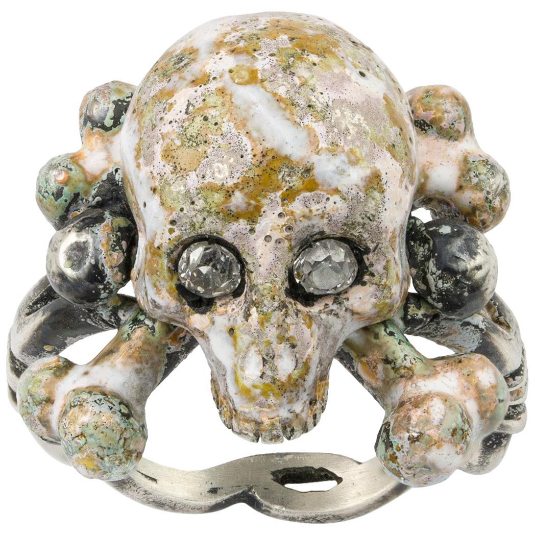 Enamel and Diamond Skull Ring