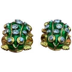 Enamel and Diamond Toad Cufflinks